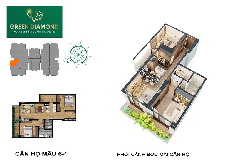 Thiết kế căn hộ 2n diện tích 96m2 dự án chung cư Green Diamond 93 Láng Hạ