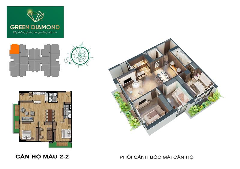 Thiết kế căn hộ 3n diện tích 140m2 dự án chung cư Green Diamond 93 Láng Hạ