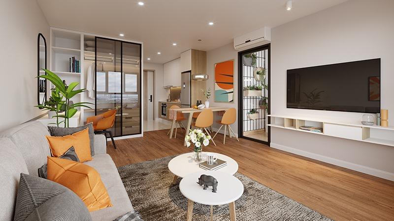 Phòng khách căn hộ 2 ngủ Eco Smart City Cổ Linh