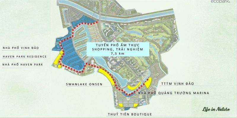 Trung tâm thương mại trên mặt nước là điểm nhấn quan trọng nhất trong tuyến phố đi bộ 7,5km