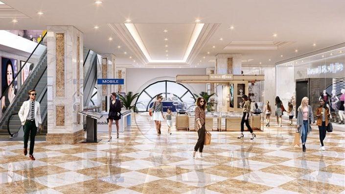 Phối cảnh 2 trung tâm thương mại Eco Smart City Cổ Linh - Long Biên