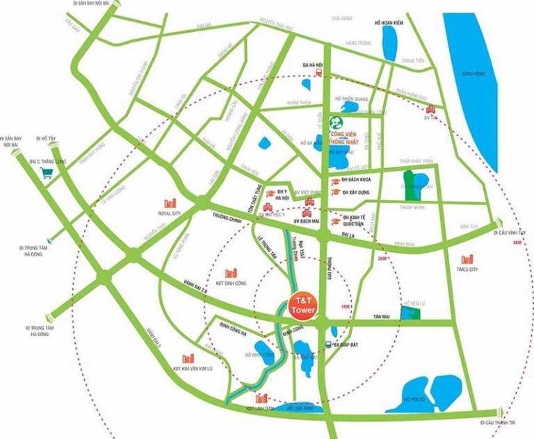 Vị trí chung cư T&T 120 Định Công