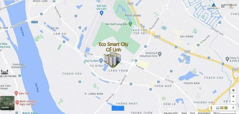 Vị trí dự án Eco Smart city Cổ Linh - Long Biên
