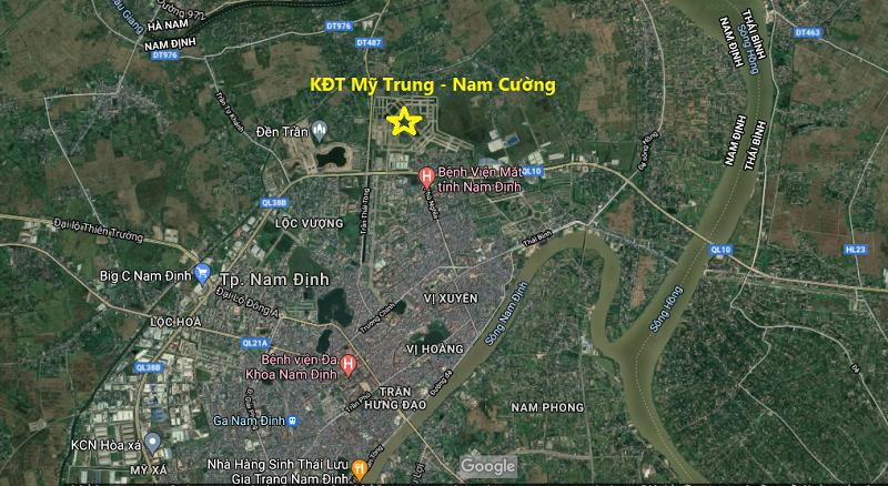 vị trí khu đô thị Mỹ Trung - Nam Định