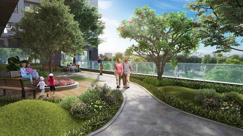 Phối cảnh vườn trên tầng khối đế Eco Smart City Cổ Linh - Long Biên