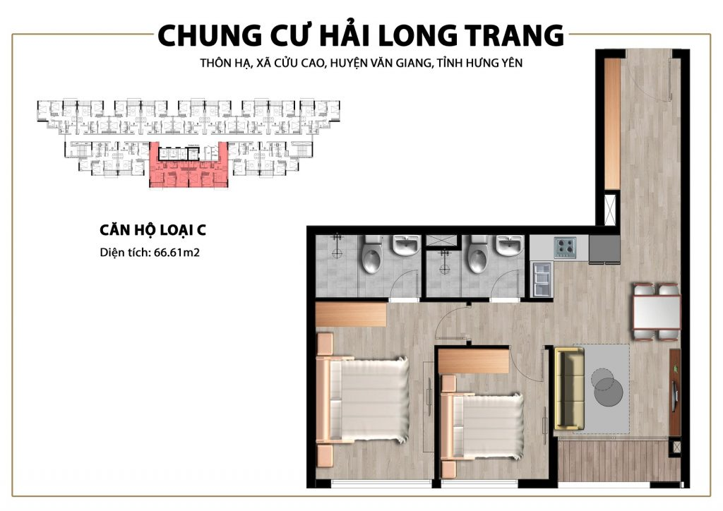 Thiết kế căn hộ loại 66,61m2 tại Chung cư Trust City Dragon Park