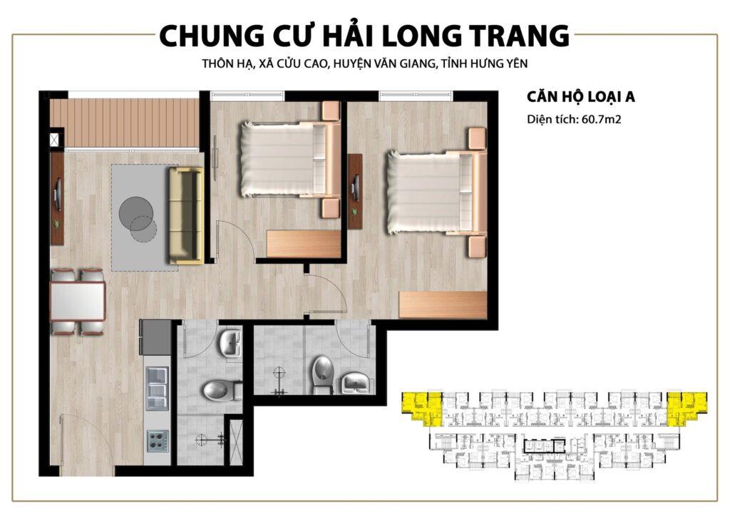 Thiết kế căn hộ loại 60,7m2 tại Chung cư Trust City Dragon Park