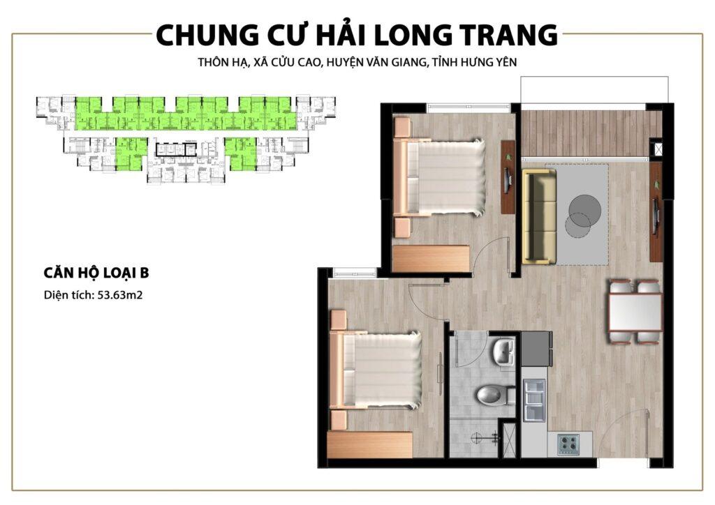 Thiết kế căn hộ loại 55,63m2 tại Chung cư Trust City Dragon Park