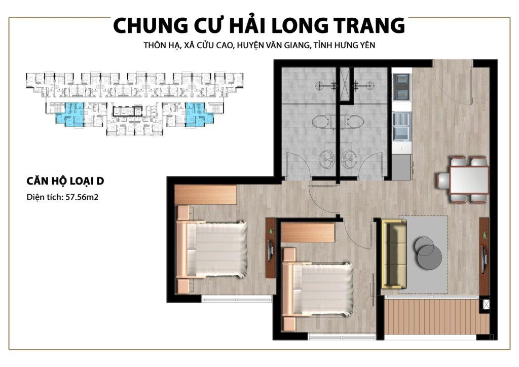 Thiết kế căn hộ loại 55,67m2 tại Chung cư Trust City Dragon Park