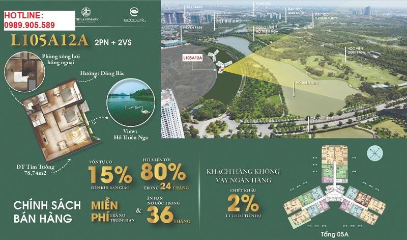 Tầm view hồ thiên nga, sân golf chung cư landmark Ecopark