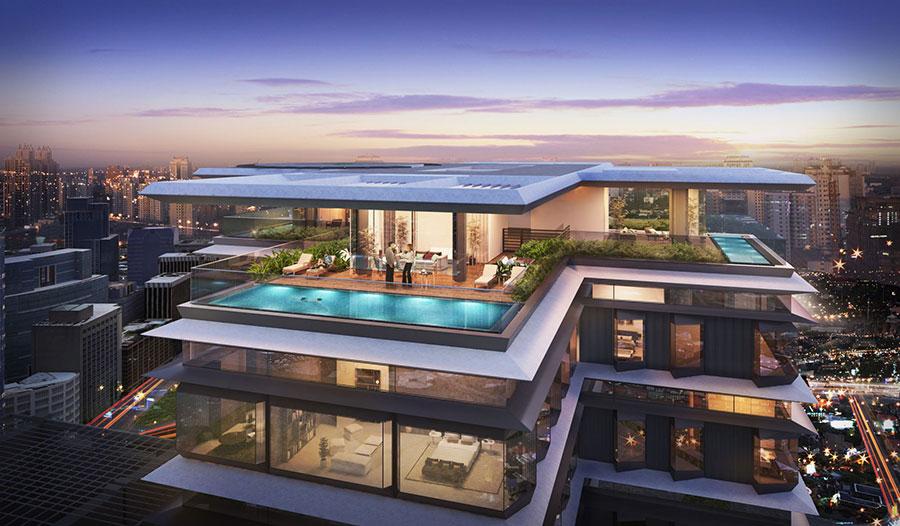 Phối cảnh căn hộ Penthouse trên tầng cao nhất của tòa nhà