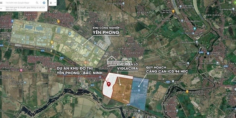 vị trí khu đấu giá Đông Yên - Yên Phong - Bắc Ninh