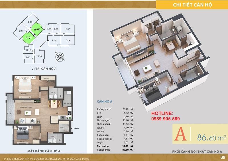 Thiết kế căn hộ 2 ngủ chung cư Lacasta Tower Văn Phú