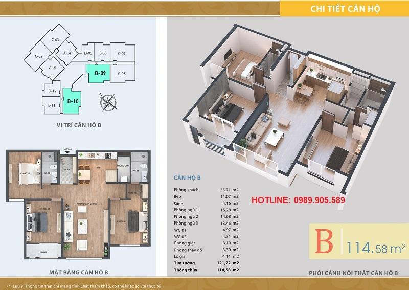 Thiết kế căn hộ 3 ngủ chung cư Lacasta Tower Văn Phú