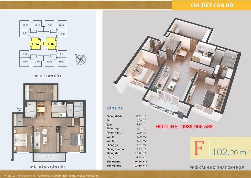Thiết kế căn hộ 2 ngủ Lacasta Tower Văn Phú