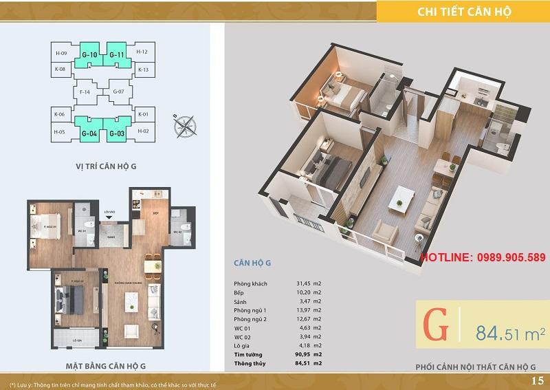 Thiết kế căn hộ 2 ngủ Lacasta Tower Văn Phú 2