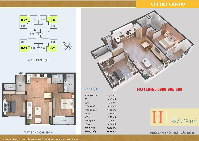 Thiết kế căn hộ 2 ngủ chung cư Lacasta Tower Văn Phú 3