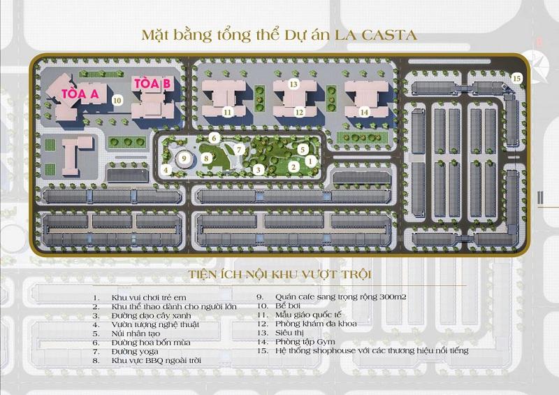 Mặt bằng tổng thể chung cư Lacasta Tower Văn Phú