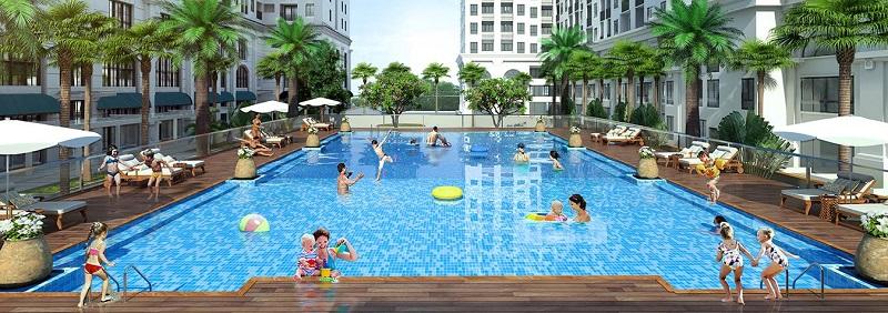 Phối cảnh bể bơi ngoài trời chung cư Eden Garden Thái Bình