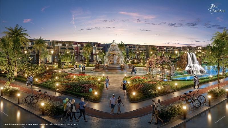 Phối cảnh quảng trường phân khu Parasol tại dự án KN Paradise Cam Ranh