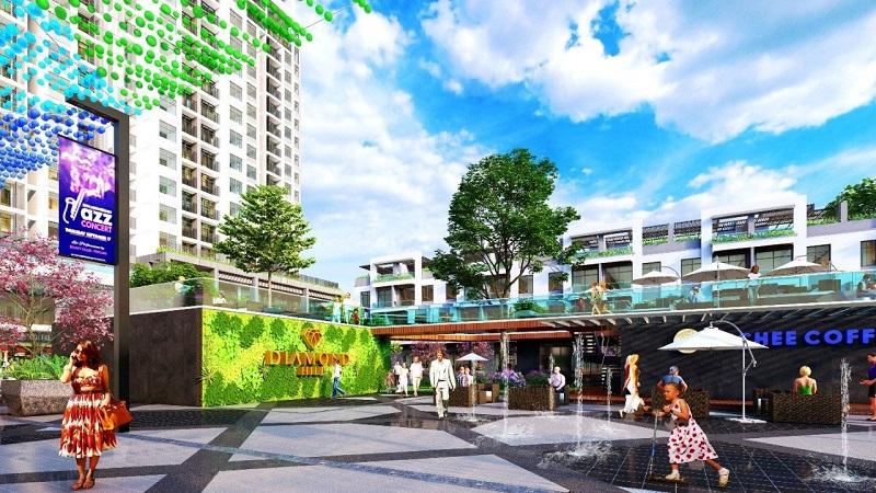 phối cảnh trung tâm thương mại tháp đôi Bách Việt Xương Giang