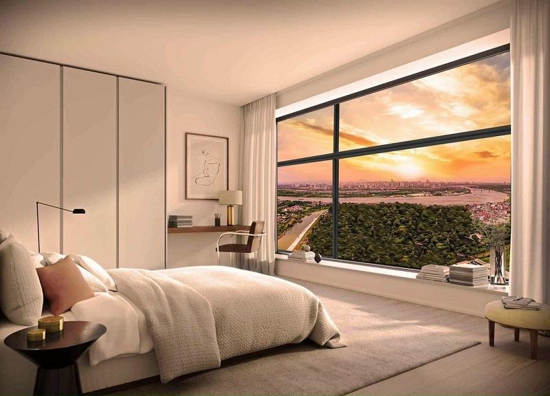 Phối cảnh phòng ngủ view sông Hồng