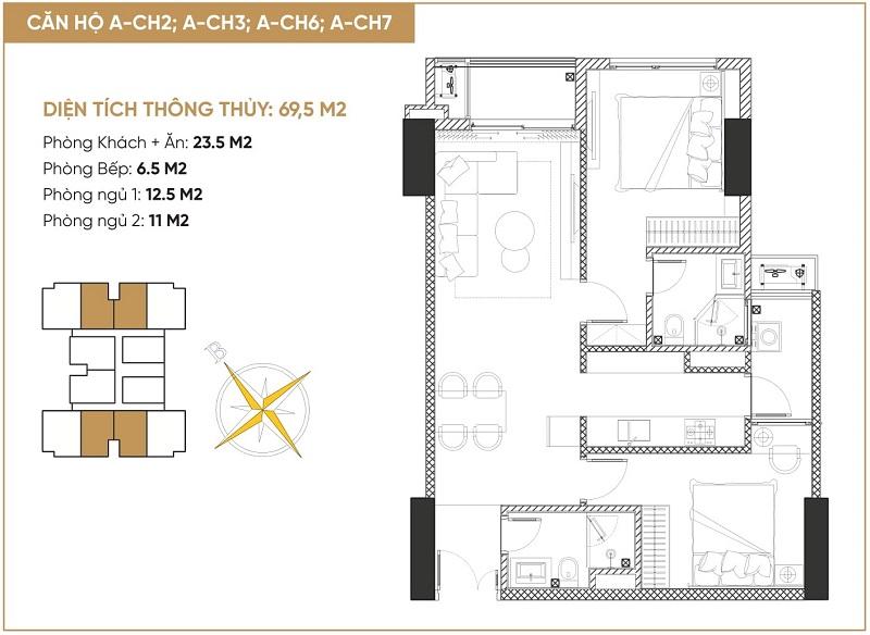 Thiết kế 1 căn hộ 2 ngủ tháp đôi bách việt diamond hill