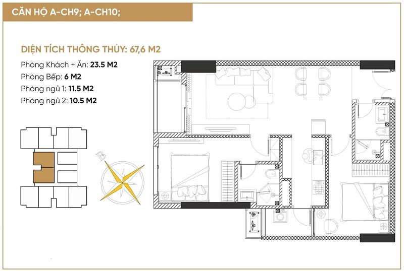 Thiết kế 2 căn hộ 2 ngủ tháp đôi bách việt diamond hill