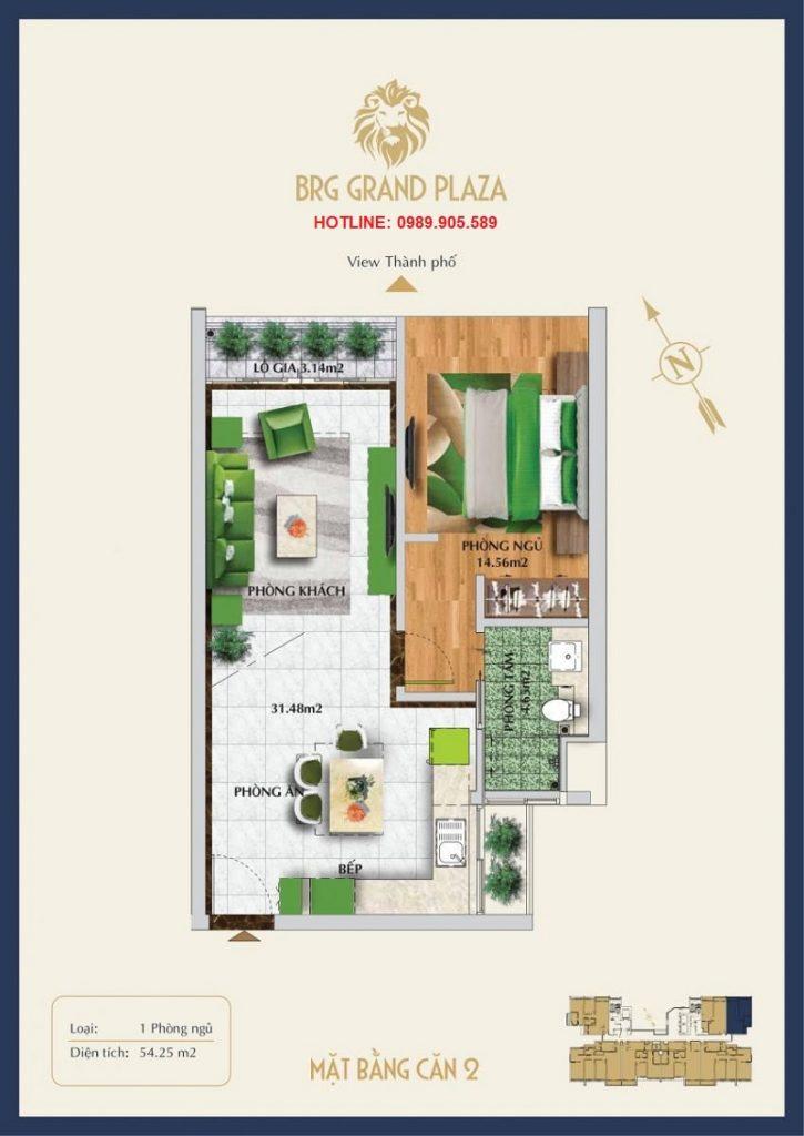 Thiết kế căn hộ 1PN BRG Grand Plaza 2