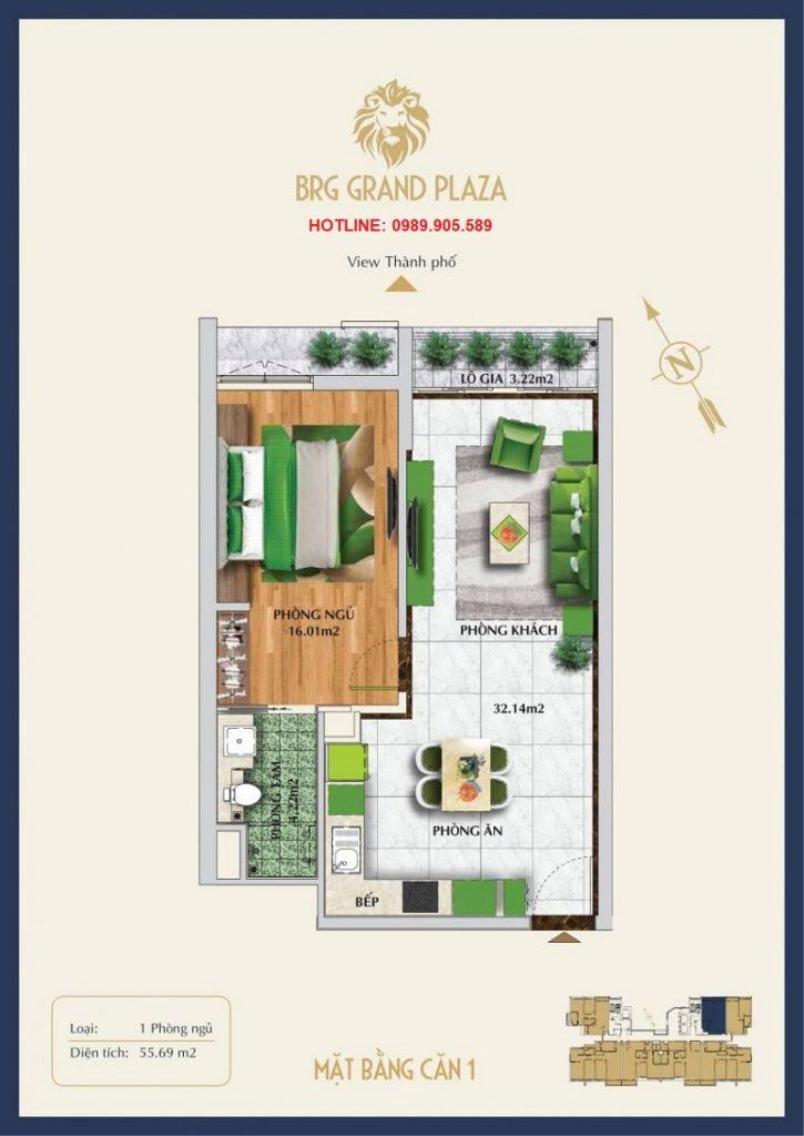 Thiết kế căn hộ 1PN BRG Grand Plaza