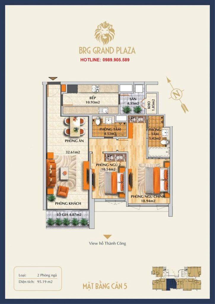 Thiết kế căn hộ 2PN BRG Grand Plaza 2