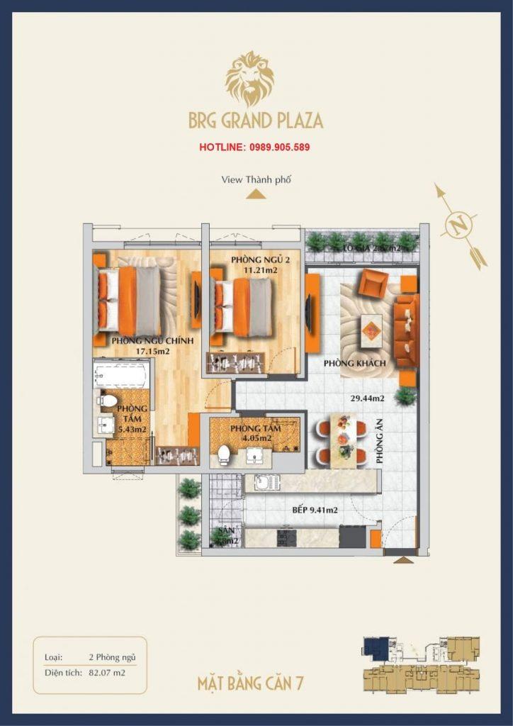 Thiết kế căn hộ 2PN BRG Grand Plaza 3