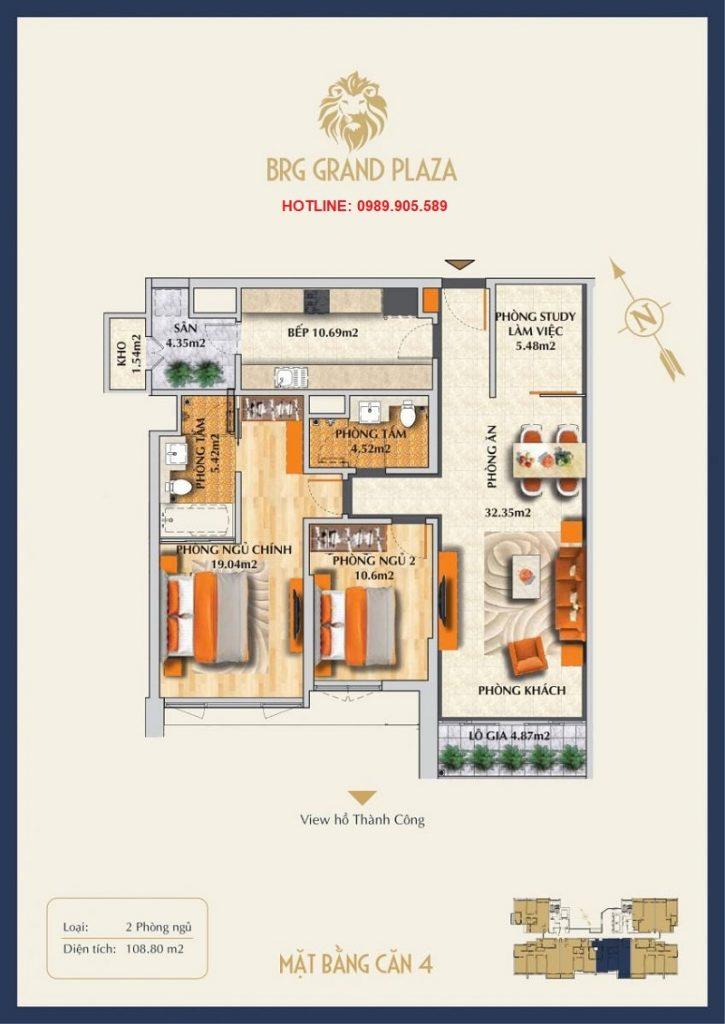 Thiết kế căn hộ 2PN BRG Grand Plaza