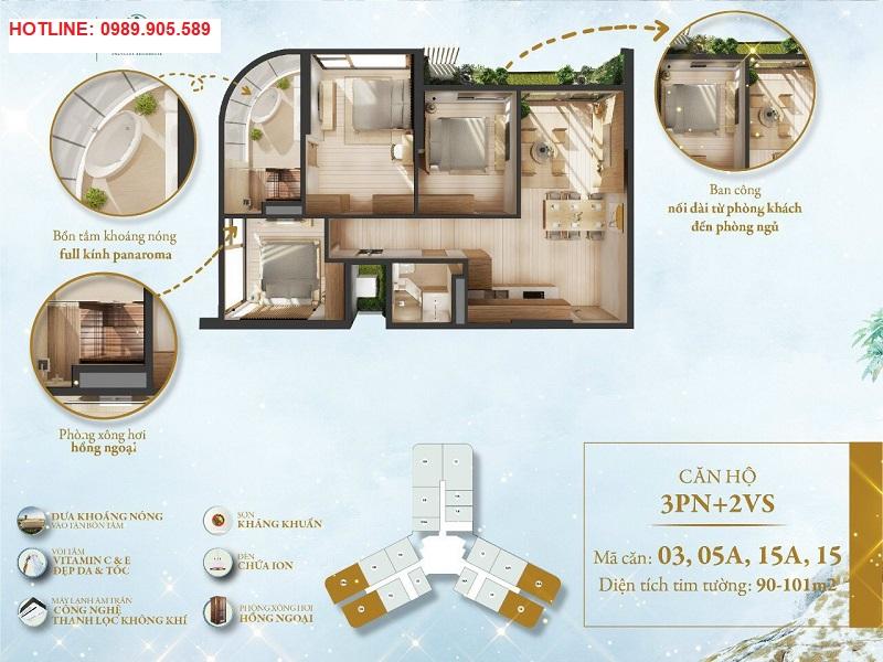 thiết kế căn hộ detox 3 ngủ chung cư Landmark Ecopark