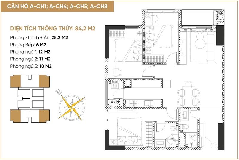 Thiết kế căn hộ 3 ngủ tháp đôi bách việt diamond hill