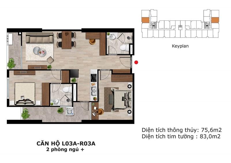 Thiết kế căn hộ 2 ngủ + Eden Garden Thái Bình