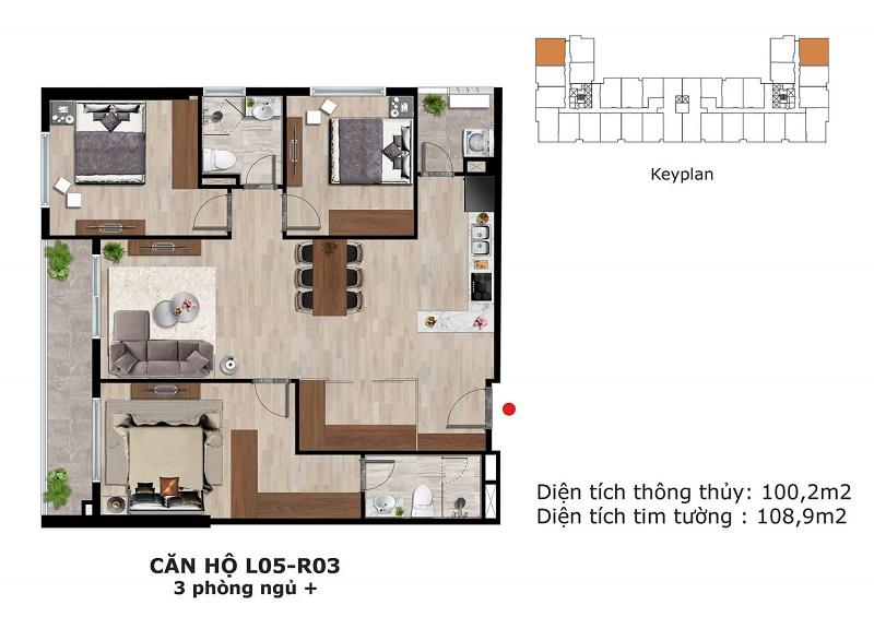Thiết kế căn hộ 3 ngủ + Eden Garden Thái Bình