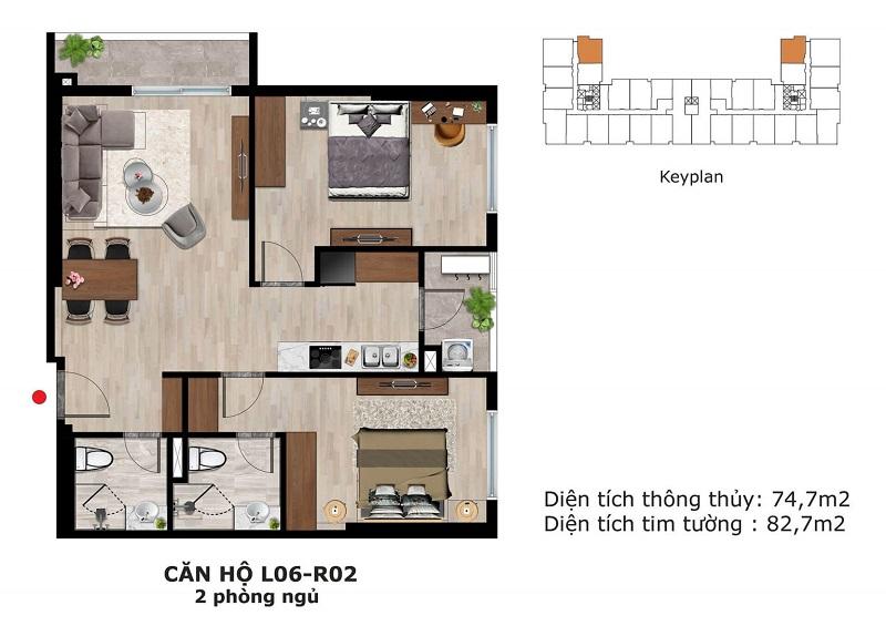 Thiết kế căn hộ 2 ngủ Eden Garden Thái Bình