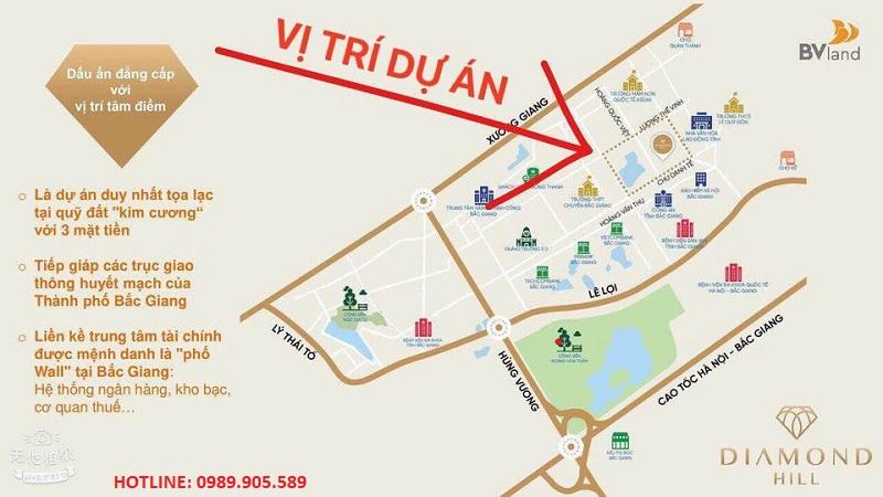 Vị trí Tháp đôi Bách Việt - BV Diamond Hill Bắc Giang