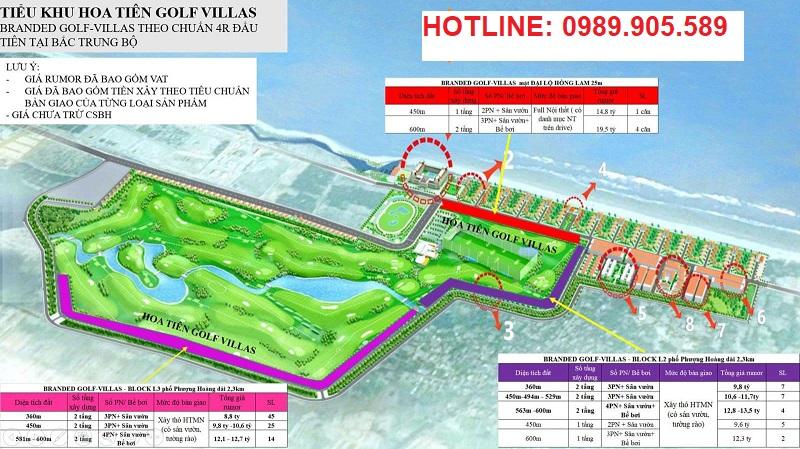 quy mô Hoa Tiên Golf Villas
