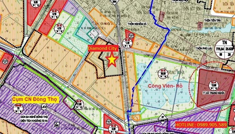 Vị trí đất đấu giá Diamond City - Nghiêm Xá - Yên Phong - Bắc Ninh