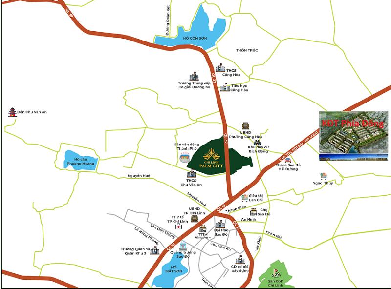 vị trí khu đô thị mới phía đông Chi Linh North Eastern Hill