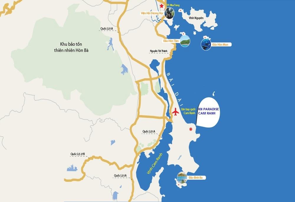 Vị trí dự án KN Paradise Cam Ranh