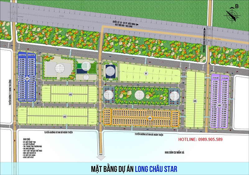Mặt bằng dự án Long Châu Star - Mẫn Xá - Yên Phong - Bắc Ninh