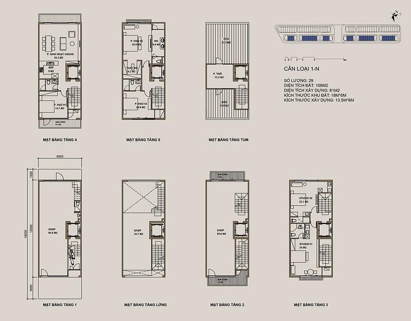 Thiết kế căn loại 1-N Shophouse 88 Central