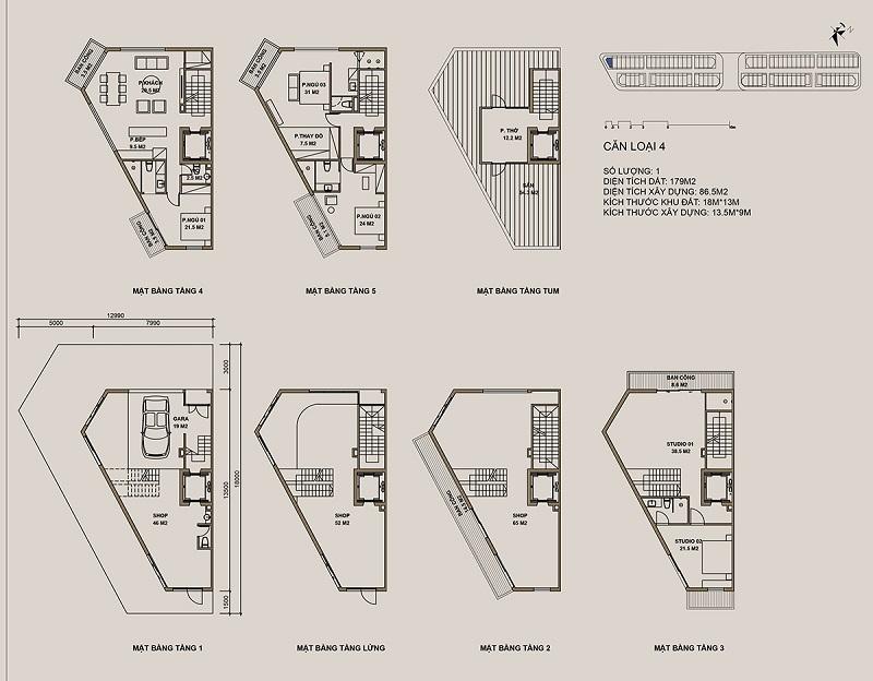 Thiết kế căn loại 4 Shophouse 88 Central
