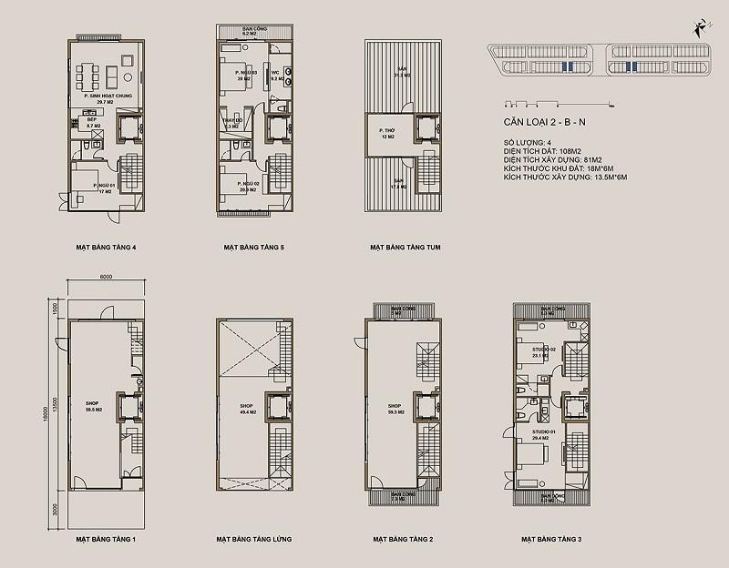 Thiết kế căn loại 2-B-N Shophouse 88 Central