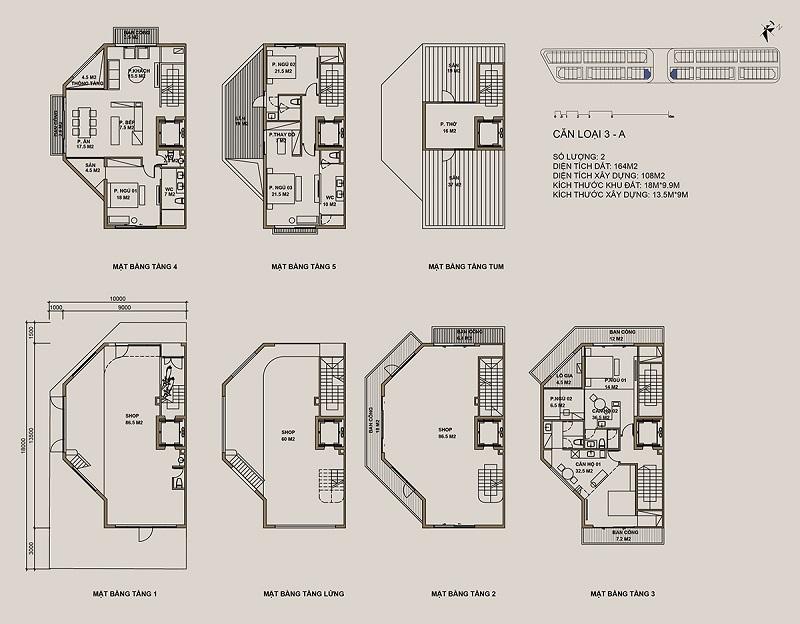 Thiết kế căn loại 3-A Shophouse 88 Central