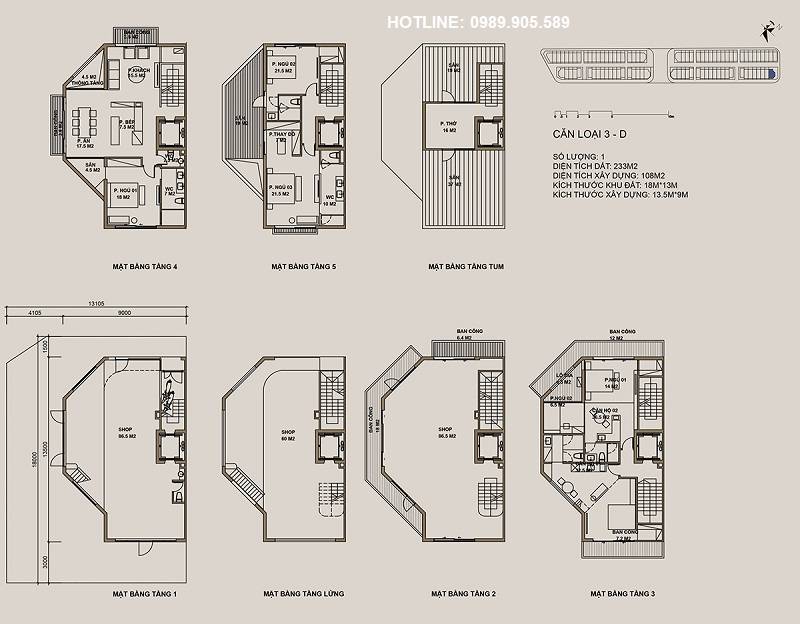 Thiết kế căn loại 3-D Shophouse 88 Central