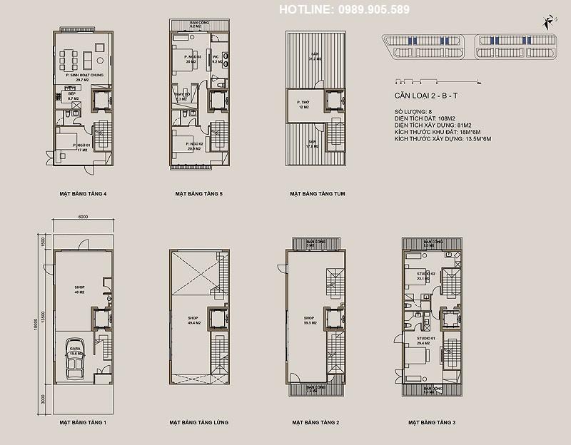 Thiết kế căn loại 2-B-T Shophouse 88 Central